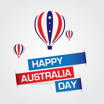 Happy australia day vector with hot air ballons