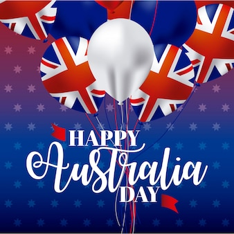 Happy australia day with ballons and flags