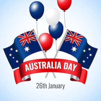 Happy australia day with balloons and flags