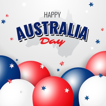 Happy australia day with close-up balloons and confetti