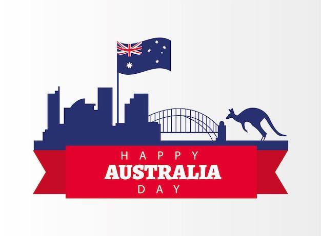 Счастливый день австралии с флагом и поздравительной открыткой с достопримечательностями кенгуру