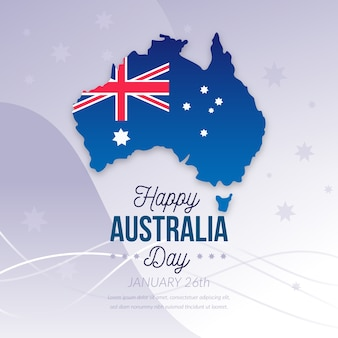 Happy australia day with flag and continent