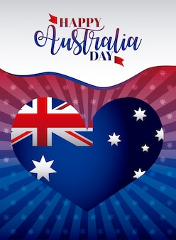 Happy australia day with flag on heart, shape illustration