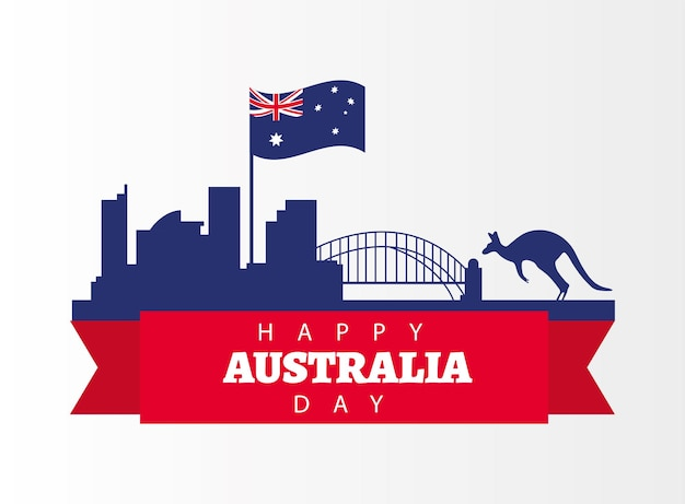 Happy australia day with flag and kangarooin landmarks greeting card