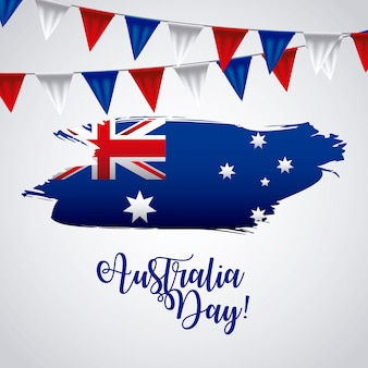 Happy australia day with flag on map