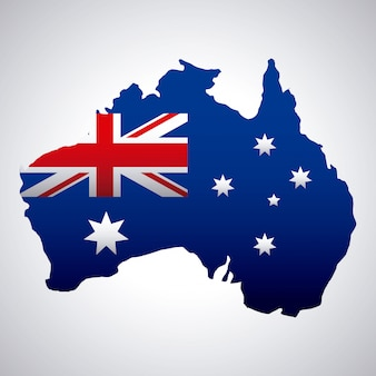 지도에 국기와 함께 행복 한 호주의 날