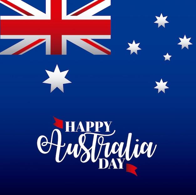 Happy australia day with flag