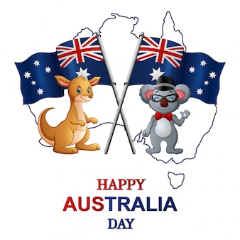 Happy australia day with kangaroo and koala