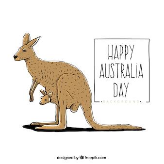 Счастливый день австралии с кенгуру