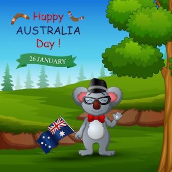 Счастливый день австралии с коалой на природе
