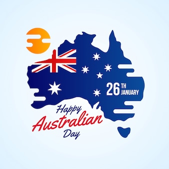 Happy australia day with map
