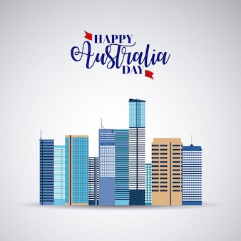 Happy australlia day with skyline