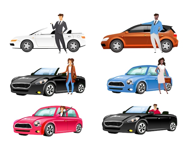 Happy auto owners flat color faceless characters set.