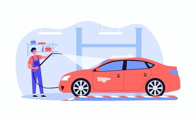 행복 한 자동 서비스 작업자 세척 차입니다. 물 평면 벡터 일러스트와 함께 균일 한 청소 차량에 젊은 남성 캐릭터. 배너, 웹 사이트 디자인 또는 방문 웹 페이지에 대한 자동차 서비스 개념