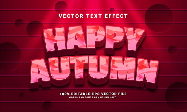 Happy autumn 3d editable text effect suitable for autumn themed events