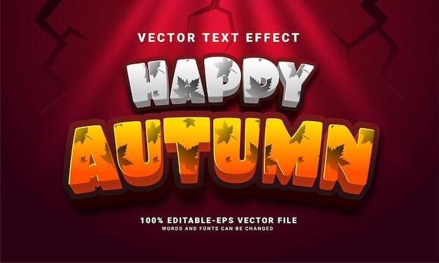 가을 테마 이벤트에 적합한 행복한 가을 3d 편집 가능한 텍스트 효과