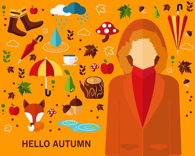 Happy autumn concept background.