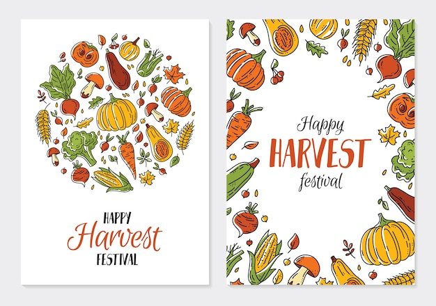 Happy autumn harvest festival cards or poster template with vegetables in the doodle style