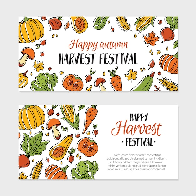 Happy autumn harvest festival vector flyer template with vegetables in the doodle style