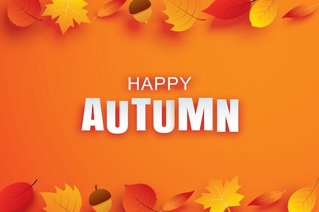 Счастливый осенний бумажный художественный стиль с листьями, висящими на оранжевом фоне. используйте для поздравительной открытки или приглашения.
