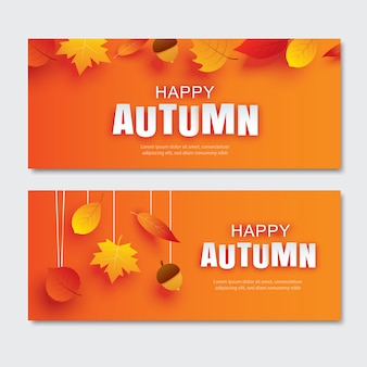 Happy autumn paper art style with leaves hanging on orange background.