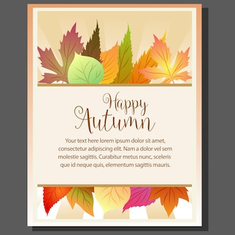 Happy autumn poster with fall seasonal leaves