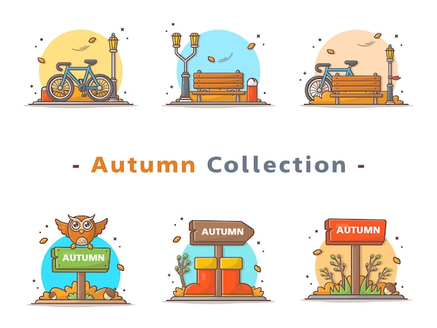 Happy autumn  scene collection
