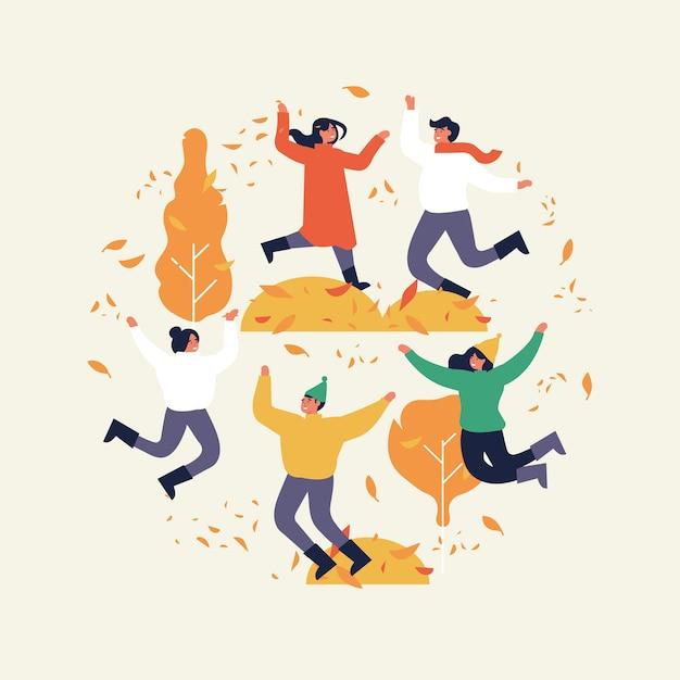 幸せな秋のシーズン。暖かい服を着た人々がジャンプしています。秋の天気。フラットスタイル、サークル構成のイラスト。
