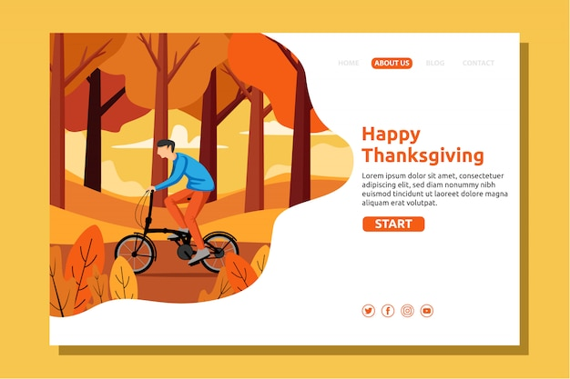 Happy autumn, thanksgiving, boy riding a bicycle in the autumn garden