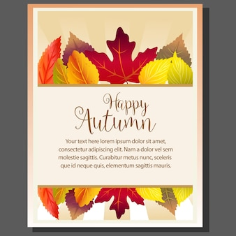 Happy autumn theme poster with forest leaves