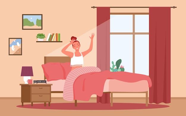 Счастливое пробуждение утром, образ жизни, повседневная девушка, персонаж, сидящий в постели, женщина, растягивающаяся