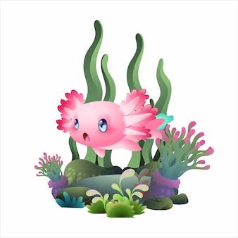 행복한 axolotl 수영 그림, 귀여운 분홍색 도롱뇽