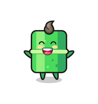 幸せな赤ちゃんの竹の漫画のキャラクター、tシャツ、ステッカー、ロゴ要素のかわいいスタイルのデザイン