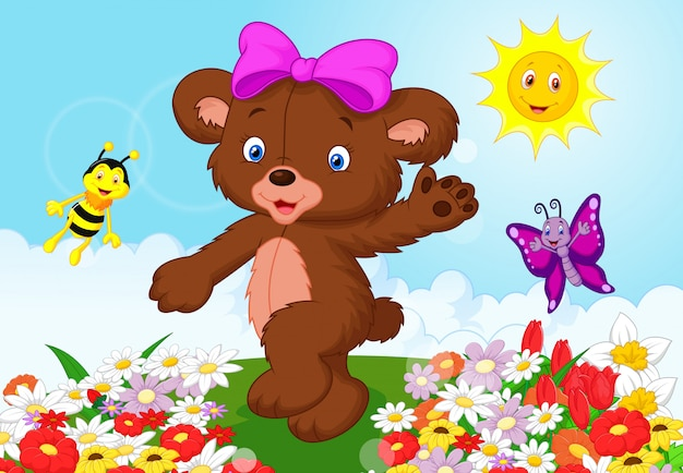 Happy baby bear cartoon