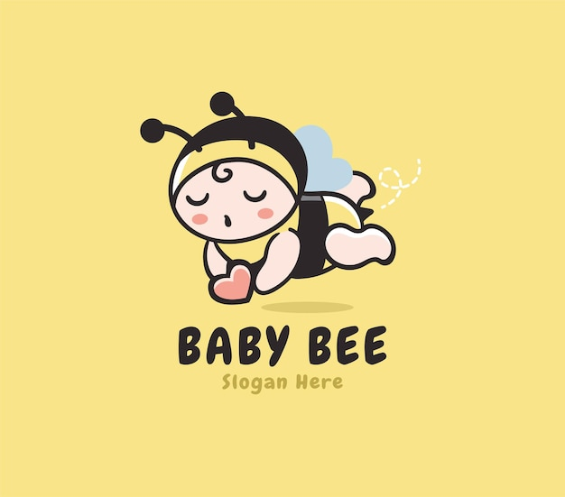 Happy baby bee shop logo template