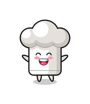 행복한 아기 요리사 모자 만화 캐릭터, 티셔츠, 스티커, 로고 요소를 위한 귀여운 스타일 디자인