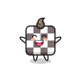 Happy baby chess board cartoon character , cute style design for t shirt, sticker, logo element