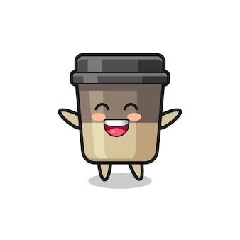 Счастливый ребенок чашка кофе мультипликационный персонаж, милый дизайн стиля для футболки, стикер, элемент логотипа