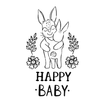 Happy baby.cute rabbits animals. handwriting text monochrome hand drawn clip art   illustration set