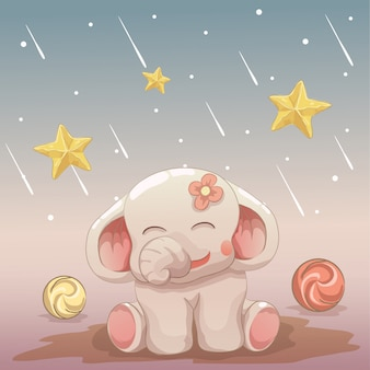 Happy baby elephant looking at the falling stars