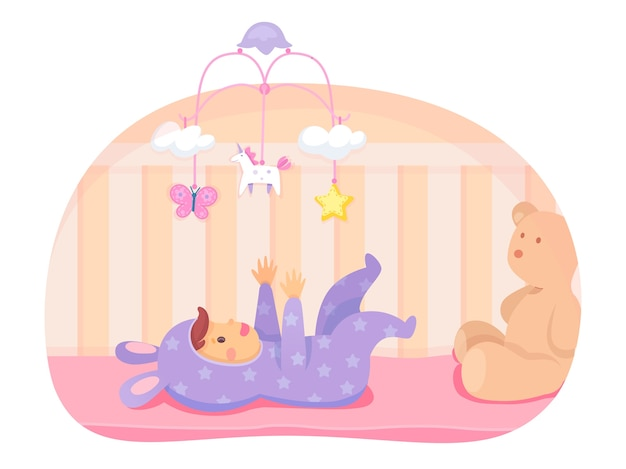 Happy baby girl lying in crib and playing with mobile, cartoon hanged toy stars, unicorn, butterfly, clouds. newborn character in cute bunny jumpsuit clothes. big soft teddy bear.