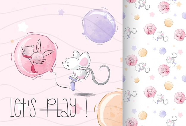 Happy baby maouse play seamless pattern