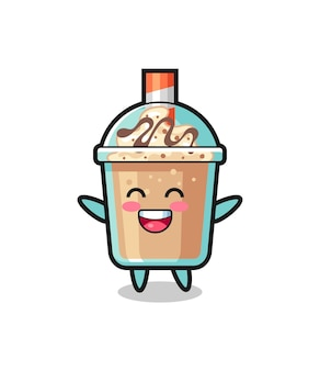 幸せな赤ちゃんのミルクセーキの漫画のキャラクター、tシャツ、ステッカー、ロゴ要素のかわいいスタイルのデザイン