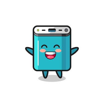 Happy baby power bank cartoon character , cute style design for t shirt, sticker, logo element