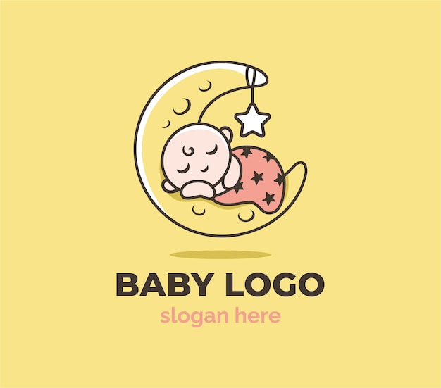 Happy baby shop with moon and star logo template