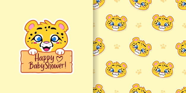 Happy baby shower cheetah and seamless pattern
