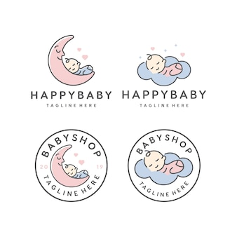 Happy baby sleeping / babyshop vector logo design template