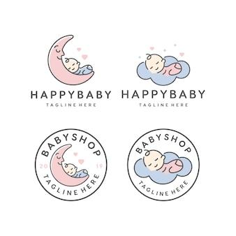 眠っている幸せな赤ちゃん/ベビーショップベクトルのロゴのデザインテンプレート