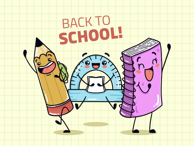 Happy back to school accessories vector