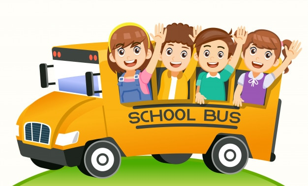 Happy back to school by bus and a new semester.